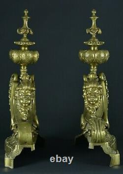 Old Pair Of Golden Bronze Chenets Putti Joufflu Louis XIV Fireplace Decor
