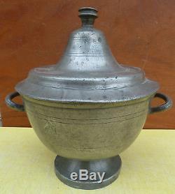 Old Pot With Bouillon, Tin Soup Of The Eighteenth Century Folk Art