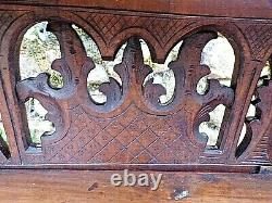 Old Sculpted Shelving-wood Serrated-xix Th-decor Mill/blazons-carved Wood