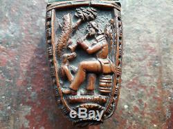 Old Snuff Box Corozo Folk Art Musician Dog Musician And Dog Snuffbox