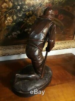 Old Statues Breton Marine Signed M. Fouillen Carved Wood Of 1932