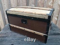 Old Trunk Curved Wooden Travel, Home, Showcase, Chest, Treasure