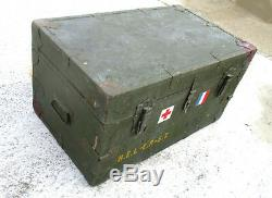 Old Trunk Trunk Military Militaria Ww1 Ww2 Army Cross Red Flag