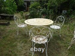 Old Vintage Round Iron Garden Table + 3 Chairs Art Deco