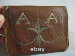 Old Wallet Wallet / Leather + Silver Watermark + Embroidery