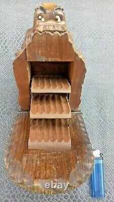 Old Wood Carved Wooden Lion Cigarette Box Black Drill