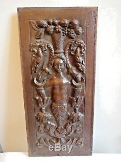 Old Wood Panel Carved Style High Epoque Decor Woman And Vegetations