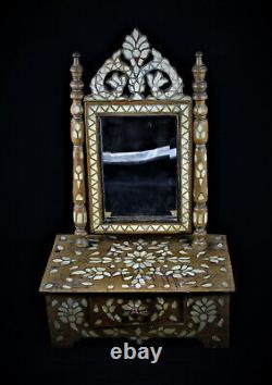 Ottoman Empire- Syrian Table Mirror On Mother-of-19th Century Encrusted Box