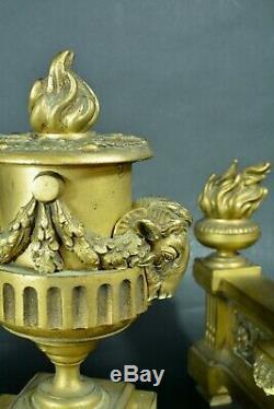 Pair Of Andirons Louis XVI Rams Head Pot Laurel Fire Gilt Old