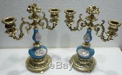 Pair Of Beautiful Porcelain Bronze Sconce From Paris XIX Candlesticks