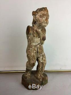 Pair Of Carved Wood Polychrome Putti Epoch XVIII