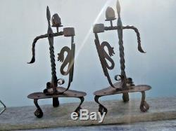 Pair Résiniers Candlestick Hammered Wrought Iron Decor Style Heart Marolles 1950
