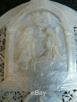 Pearl Shell Carved And Jerusalem Ajoure Religious Nativity 19th Century 1