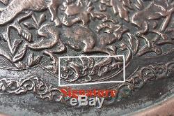 Persian Antique Islamic Qajar Plateau Qalamzani Copper Isfahan Signed 19th C
