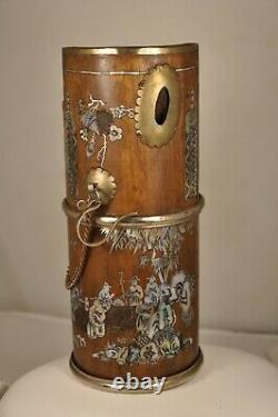 Pipe A Water Antique Ancient Chinese Water Pipe Mother Of Pearl Inlay