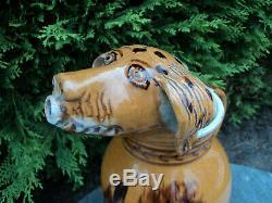 Pitcher Earth Dog's Head Glazed Earthenware Brou Eure-et-loire Popular Art