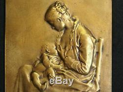 Plate Art Nouveau Bronze After Alexandre Charpentier 24.7 Maternity Not Signed