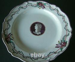 Plate Faience De Palerme XVIII Ème Bust Of Romain Del Duca DI Sperlinga