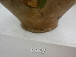Popular Pottery Terracotta Varnished Old Green Pitcher Périgord