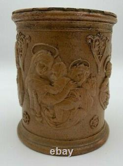 Pot A Tabac A Decors Religious Terracotta Vernissee 19th G6031