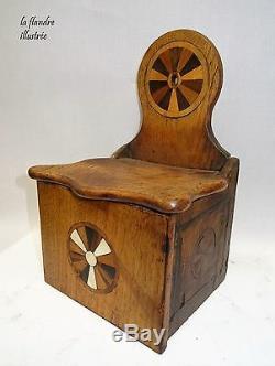 Pretty Salt Box Marquettée 19th Popular Art Kitchen