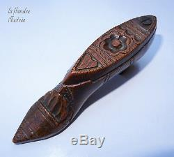 Pretty Snuffbox Shaped Shoe Tobacco Folk Art