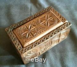 Rare Ancient Folk Art Box Box Auvergne 1873 Dugout Walnut Scult