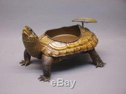 Rare And Authentic Turtle Mounted In Ashtray Art Deco 1920 1940