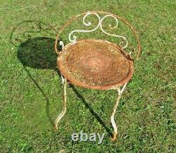 Rare And Former Stool / Metal Garden Chair. Period 1900