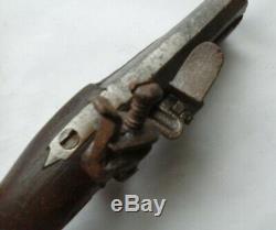 Rare Antique Gun Flint-time High Iron Forged 18 Th XVIII Th Barrel Deco