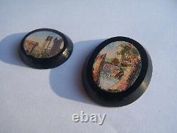 Rare Antique Micro Mosaic Onyx Rome Landscape Micromosaic Mosaic Mosaic Mosaic