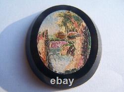 Rare Antique Micro Mosaique Onyx Rome Landscape Micromosaic Mosaic Mosaik Mosaico