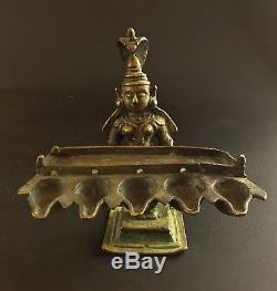 Rare Antique Statuette Oil Lamp Bronze Temple Rajasthan India Xviii-xix