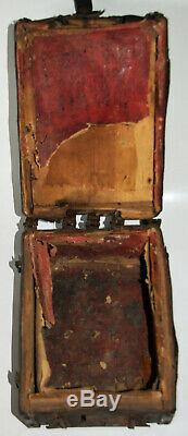 Rare Box Of Messenger Wood Iron Leather Manuscripted Lock High Time Late Xvth
