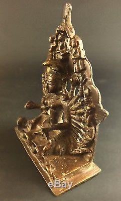 Rare Bronze Statuette Durga Jain India 10 Pairs Of Arms -fin Xixth -1,5 KG