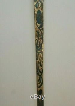 Rare Cane Old Ruby Emeraudes Turquoises Secret Cache On Wood Cane