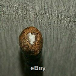 Rare Cane Old Woman Came Cameo On Wooden Heart Secret Cache Cane