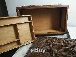 Rare Chinese Qing Huanghuali Wood Carved Wooden Box Safe Sculpture