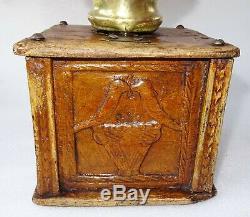 Rare Coffee Grinder Wedding Carved Bird 1800