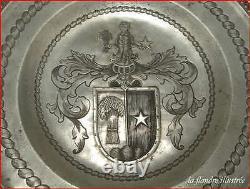 Rare Dish Engraved In Tin Of Lyon Humbert Metra Delion