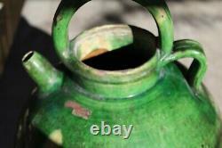 Rare Grande Gargoulette / Glazed Terracotta Jug 19th Provence