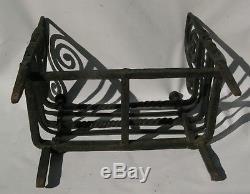 Rare Grid Door Logs Andirons Fireplace Wrought Iron Haute Epoque 17th