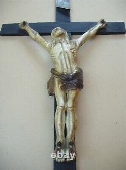 Rare Large Carved Wooden Wall Crucifix Late XVIII / Early XIX S