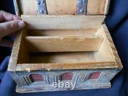 Rare Old Box Secret Architected Folk Art Seventeenth Time High