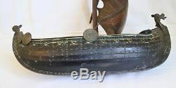 Rare Old Bronze Model Of A Viking Ship, Mainsail Bronze And Brass