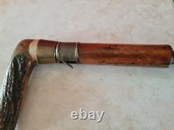 Rare Old Cane Has System Quarter Tower Dumonthier Wood Handle Horn Deer