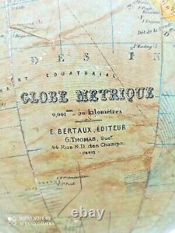 Rare Old Metric Globe In Wood 19th Napoleon III