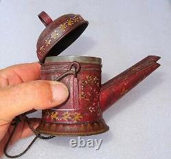 Rare Small White Iron Whale Oil Lamp Painted And Decorated 19th