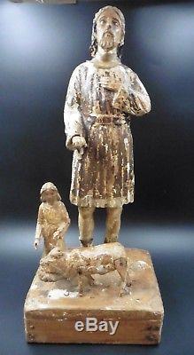 Rare Statue Ex-voto Wood Folk Art Thones Valley Haute Savoie