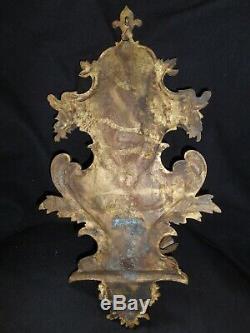 Rare Stoup Royalist Legitimist Roi Bronze Old Holy Water Folk Art Nineteenth